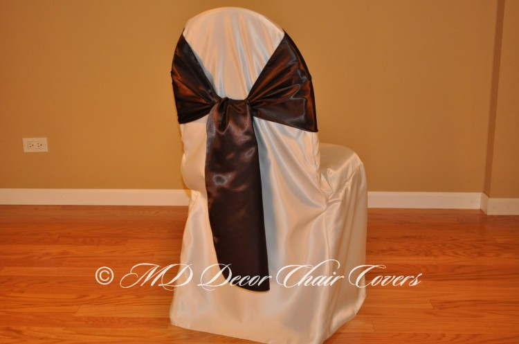 CHOCOLATE SATIN LAMOUR SASH FLIPPED OVER STYLE