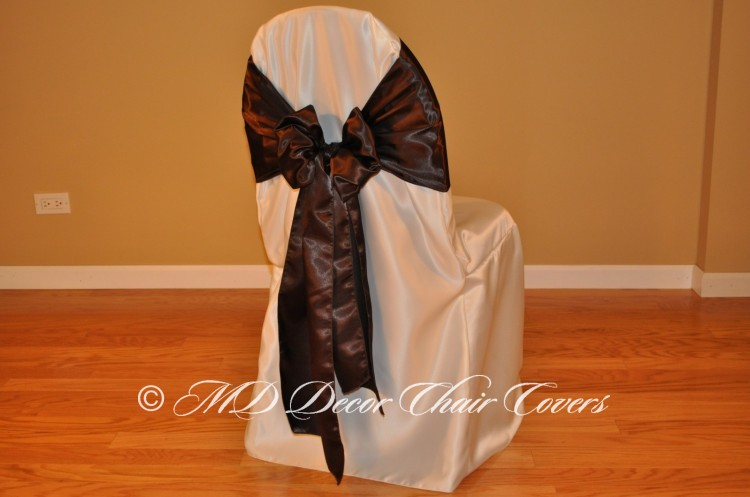 CHOCOLATE SATIN LAMOUR SASH BUTTERFLY STYLE