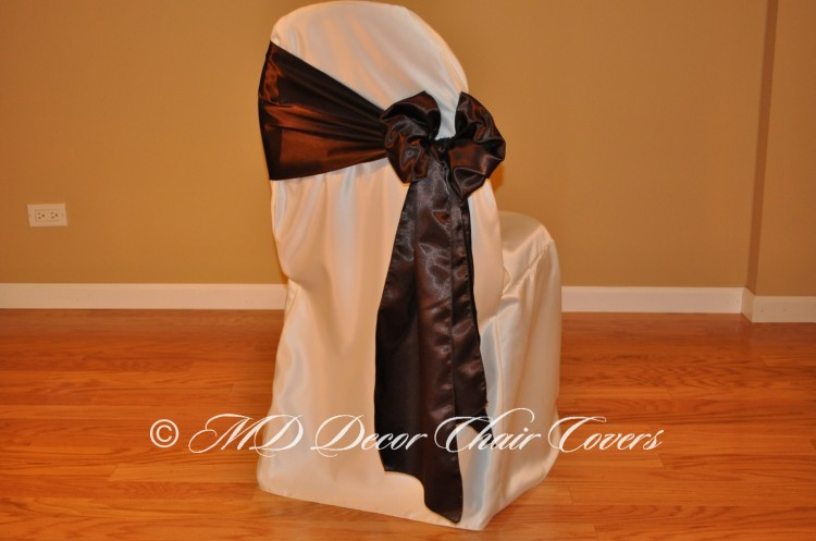 CHOCOLATE SATIN LAMOUR SASH BUTTERFLY STYLE TO THE SIDE