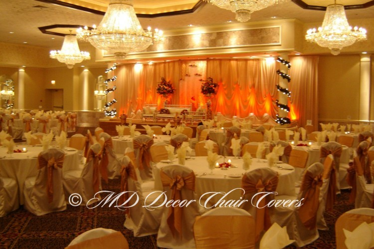 Ivory Backdrop with Orange LED Up Lights